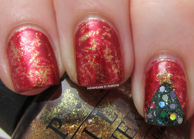 OPI-Goldeneye-and-Im-Not-Really-A-Waitress-Saran-Wrap-Mani-with-Christmas-Tree-Nail-Art