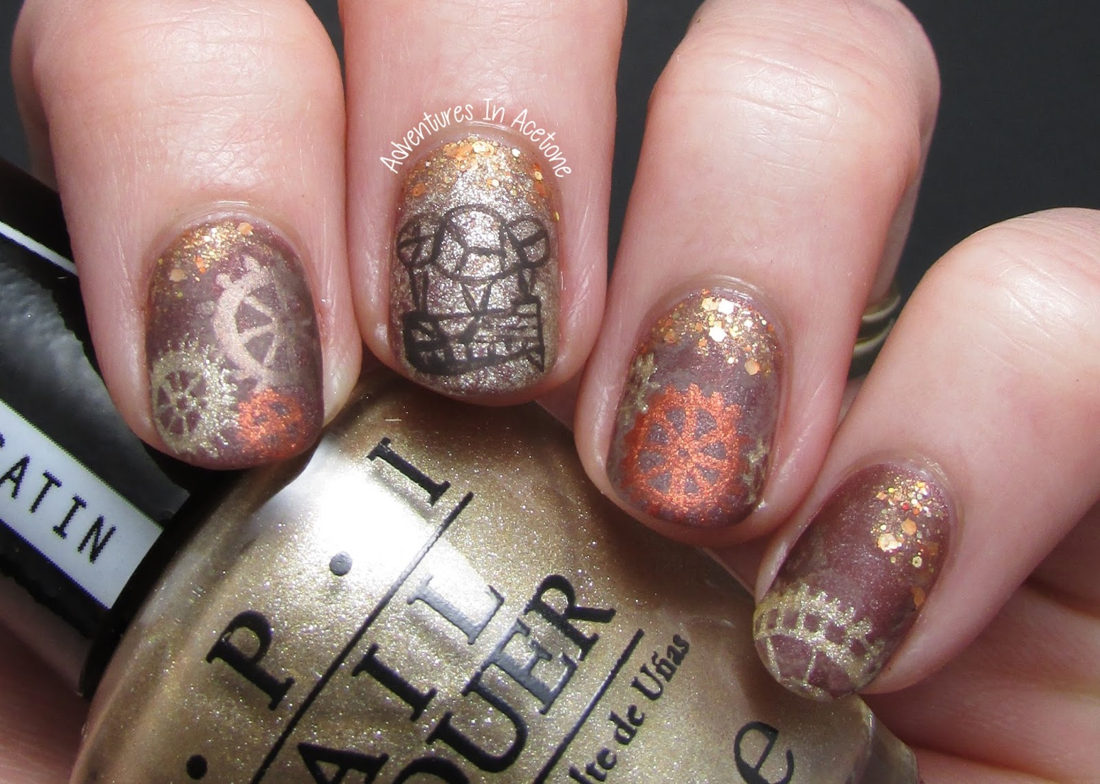The lacquer legion reinvention steam punk nail art adventures i decided to go with a sketch of an airship for my accent nail and various gears on the other nails prinsesfo Gallery