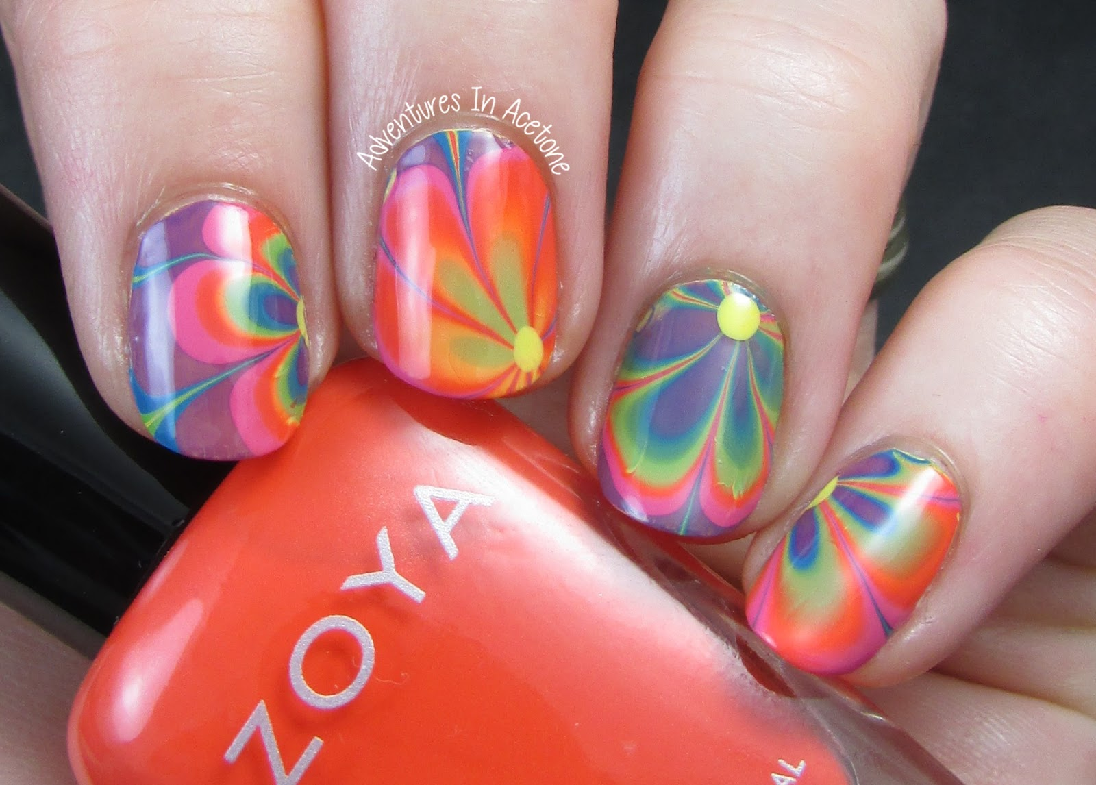 Today's Mani Was Inspired By The Flower Power, Rainbow Colored, 60s! It Was  Really Easy To Make Rainbow Colored Flowers By Water Marbling So That's  Exactly