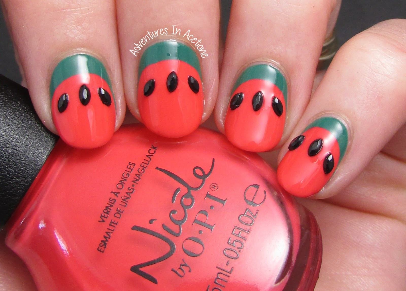 Simple ruffian watermelon nail art adventures in acetone this manicure is so simple and uses no nail art skills or tools just two different regular bottles of polish some seed shaped black nail art stones were prinsesfo Gallery