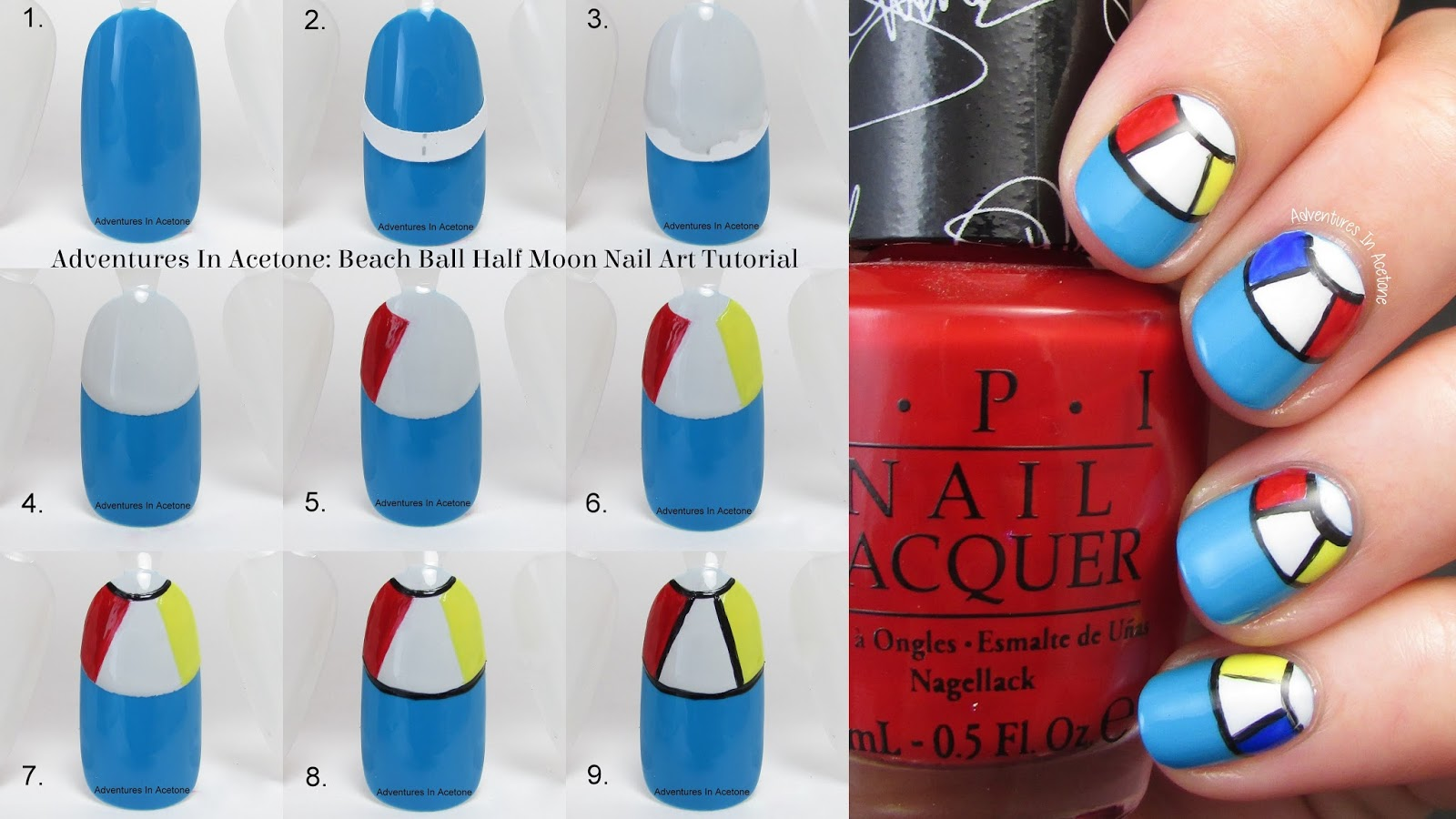 Tutorial Tuesday: Beach Ball Half Moon Nail Art! - Adventures In Acetone