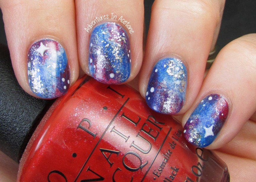 Patriotic Galaxy Nail Art! - Adventures In Acetone