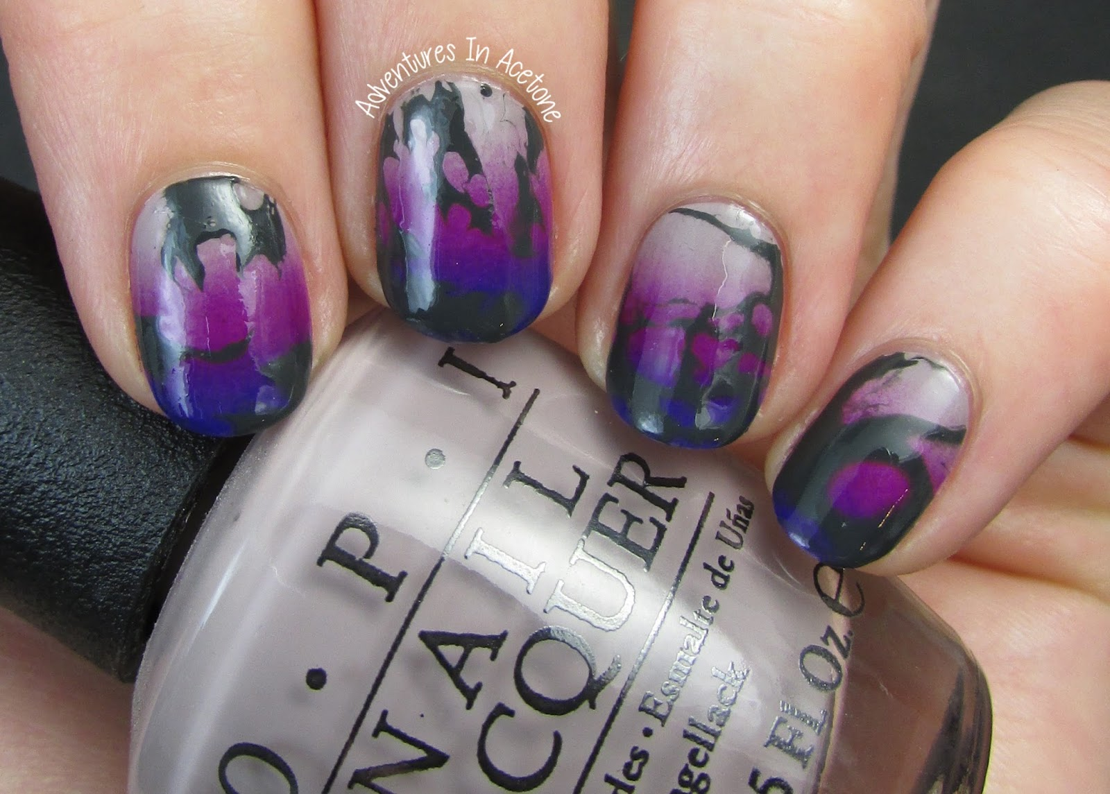 Funky Water Spotted Gradient Nail Art - Adventures In Acetone