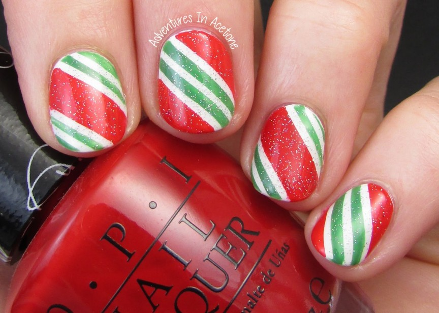 Candy cane nail art adventures in acetone prinsesfo Choice Image