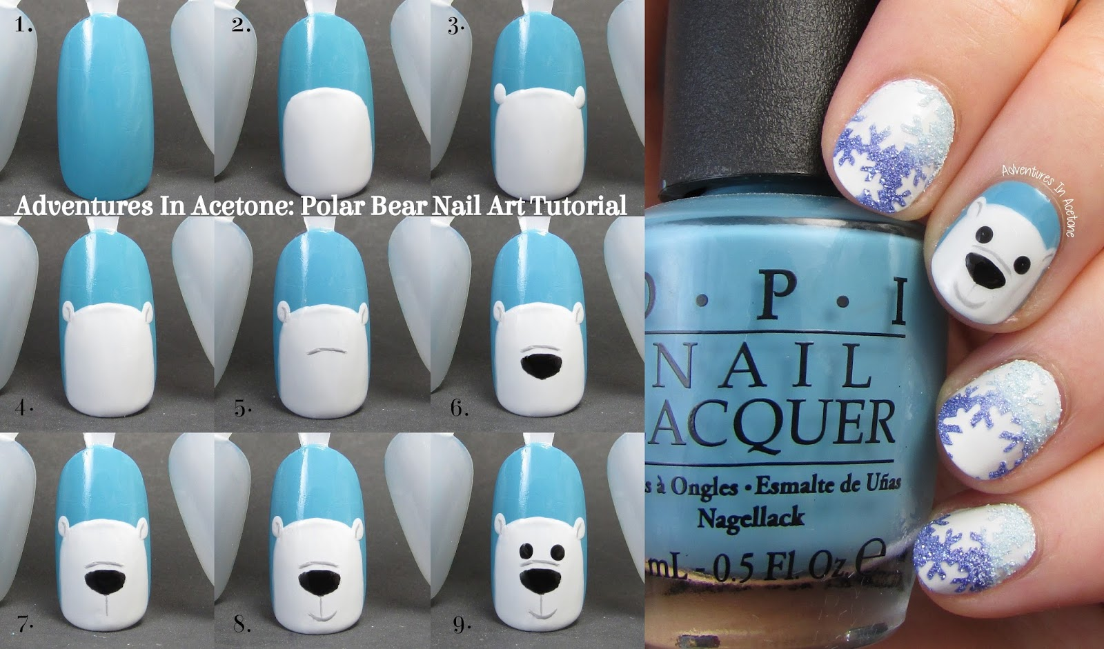 Tutorial Tuesday: Polar Bear Nail Art! - Adventures In Acetone