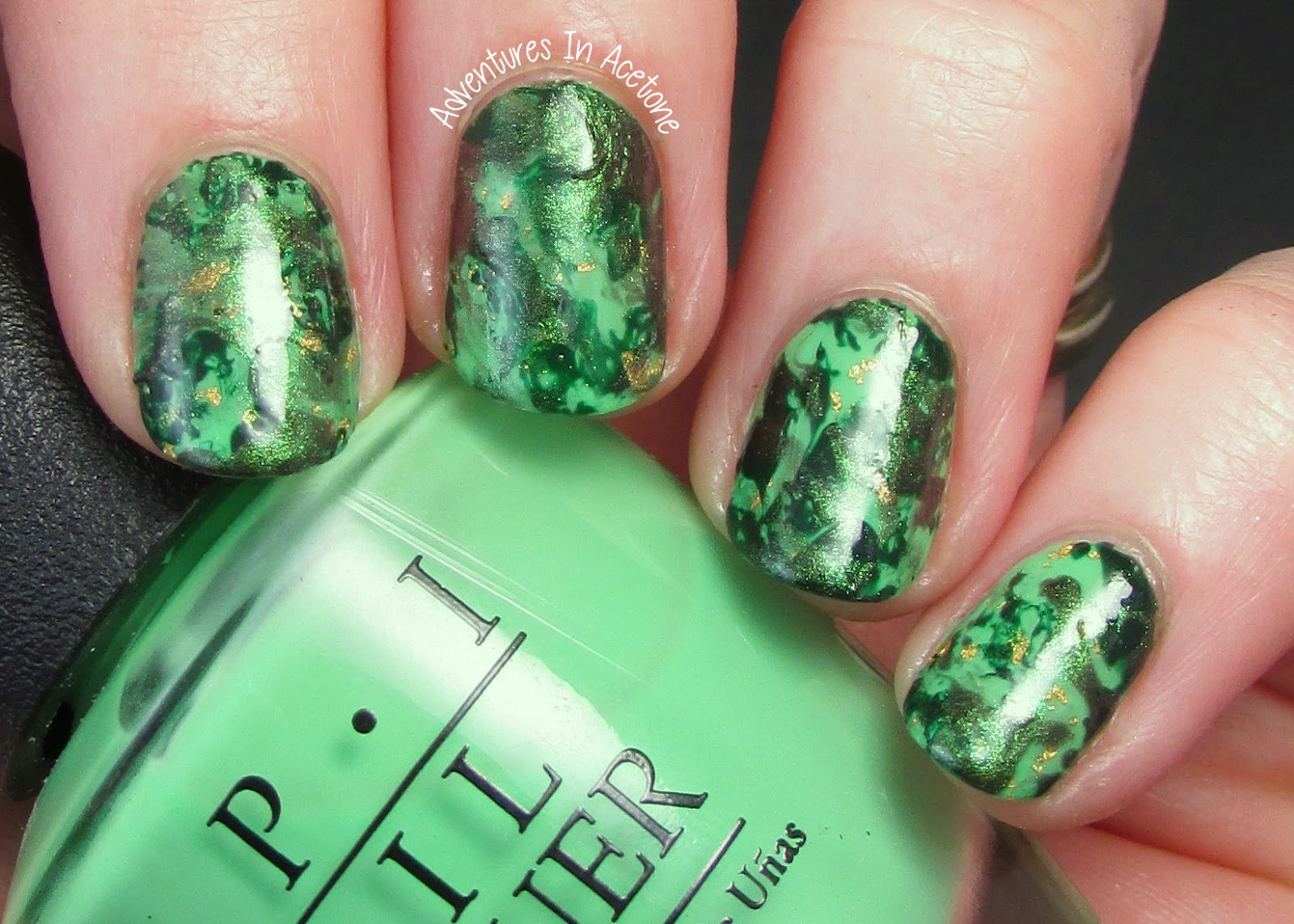 13 Days Of January, Day 7: Green Base (Spray Marble Nail Art ...