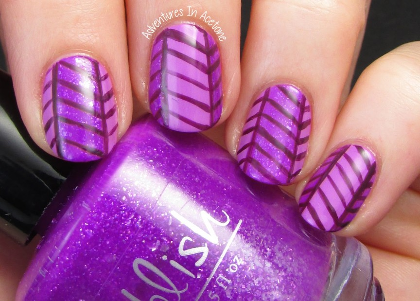 13 Days Of January Day 4 Monochromatic Herringbone Nail Art