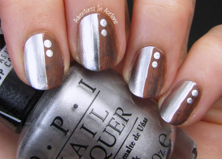 13 Days Of January, Day 3: Half & Half! (Metal & Wood Nail Art) - 13 Days Of January, Day 3: Half & Half! (Metal & Wood Nail Art