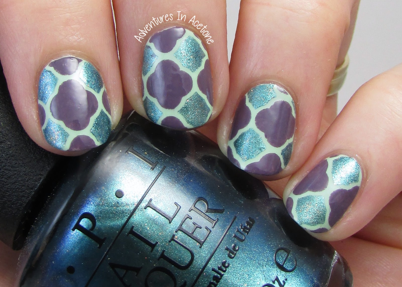 Quatrefoil Nail Art With OPI Hawaii! - Adventures In Acetone