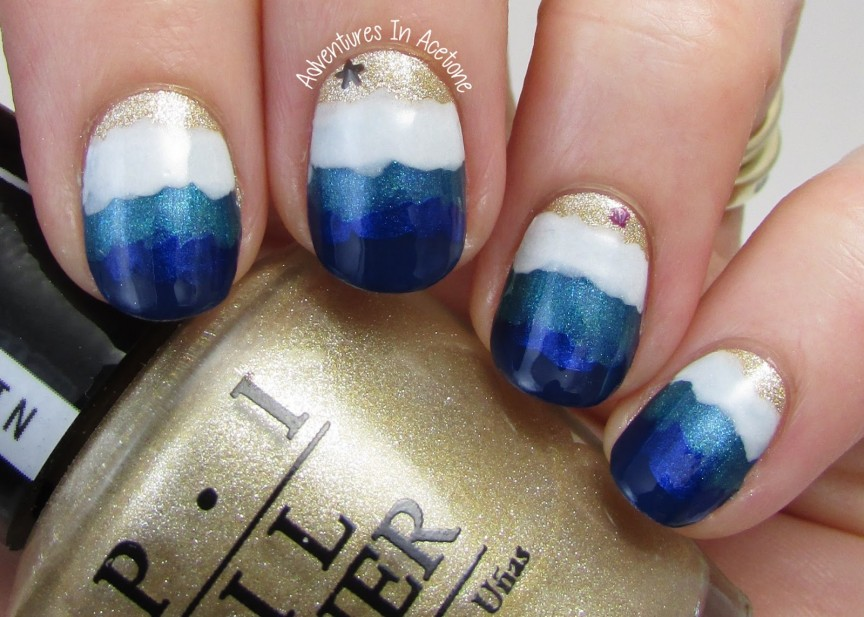 The Digit Al Dozen Does Nature Day 4 Beach Waves Nail Art