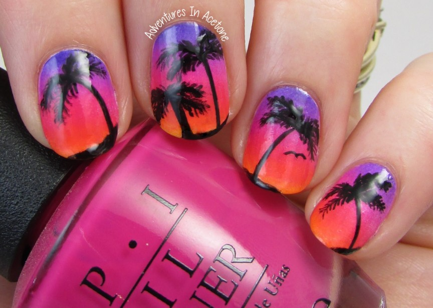 The Digit-al Dozen DOES Nature, Day 1: Island Sunset Nail Art - The Digit-al Dozen DOES Nature, Day 1: Island Sunset Nail Art