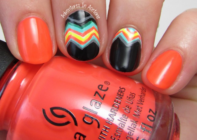 Bright Funky Chevron Nail Art 1