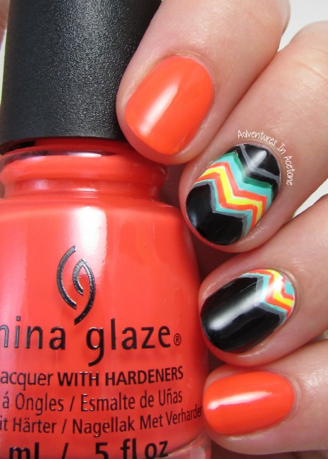 Bright Funky Chevron Nail Art 2