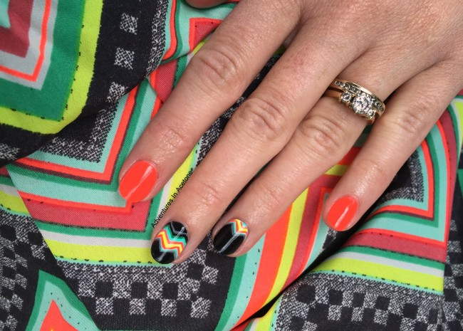 Bright Funky Chevron Nail Art 3