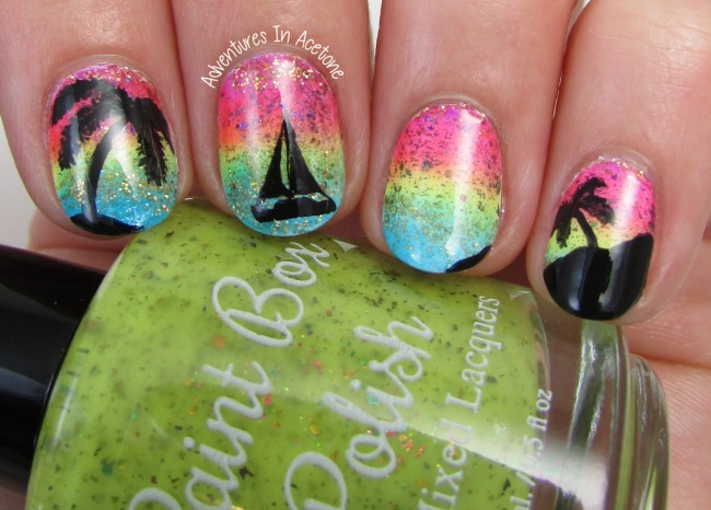 Paint Box Polish North Shore Collection Sunset Nail Art 1
