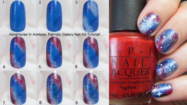 Patriotic Galaxy Nail Art Tutorial Collage Header