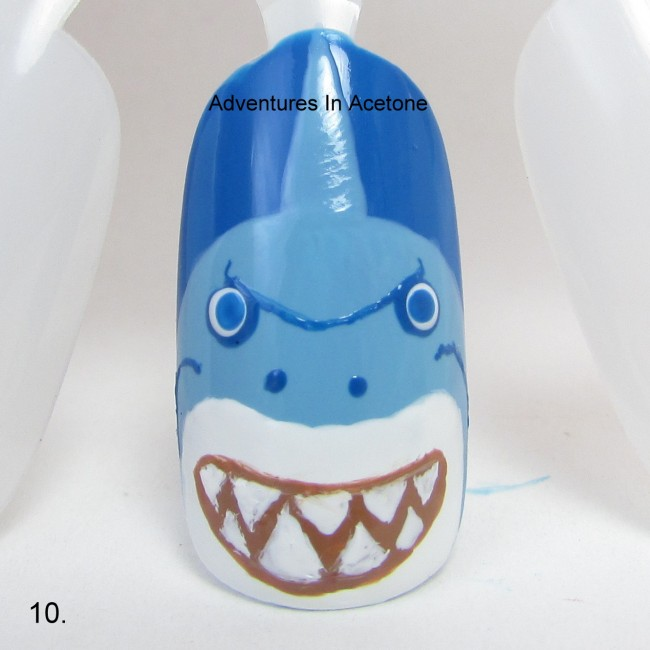 Bruce the Shark Nail Art Tutorial step 10