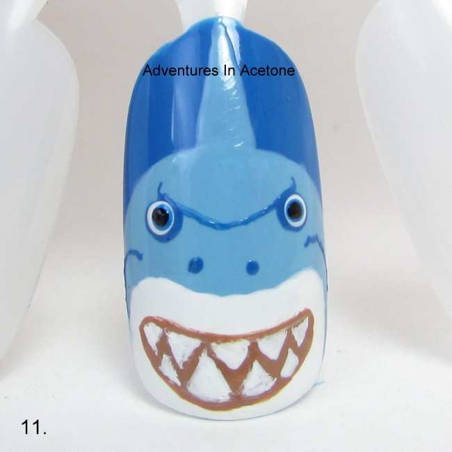 Bruce the Shark Nail Art Tutorial step 11
