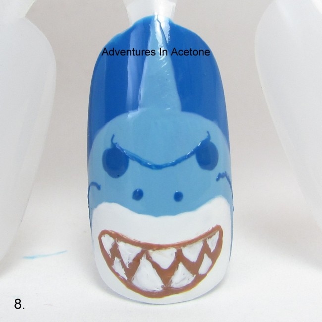 Bruce the Shark Nail Art Tutorial step 8