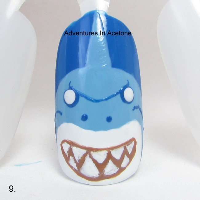 Bruce the Shark Nail Art Tutorial step 9