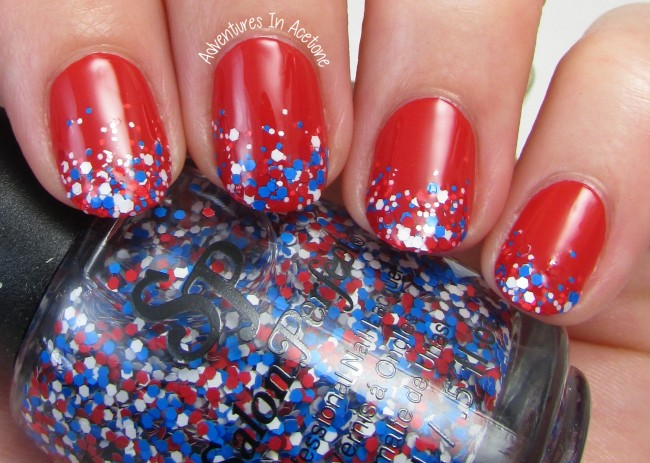 Fourth of July Gradient Tips Nail Art with Salon Perfect 1
