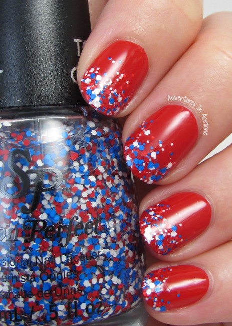 Fourth of July Gradient Tips Nail Art with Salon Perfect 2