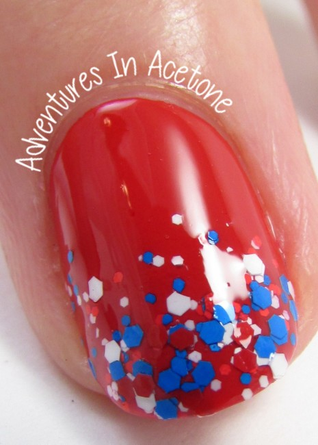 Fourth of July Gradient Tips Nail Art with Salon Perfect macro