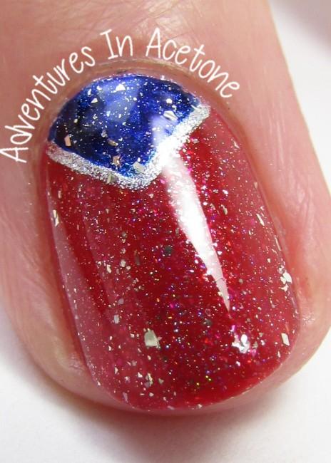 Fourth of July Nail Art half moon macro