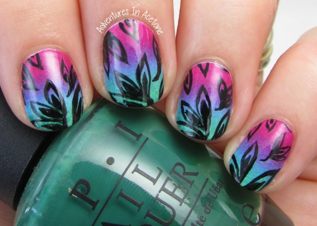 Leaves and gradient nail art 1