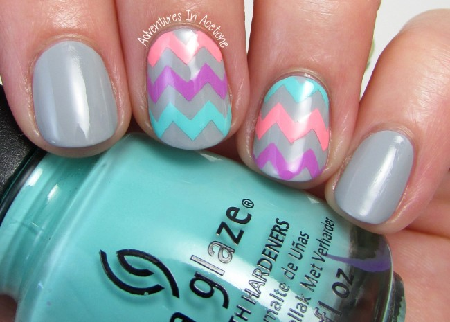 Neon Chevron nail art 1