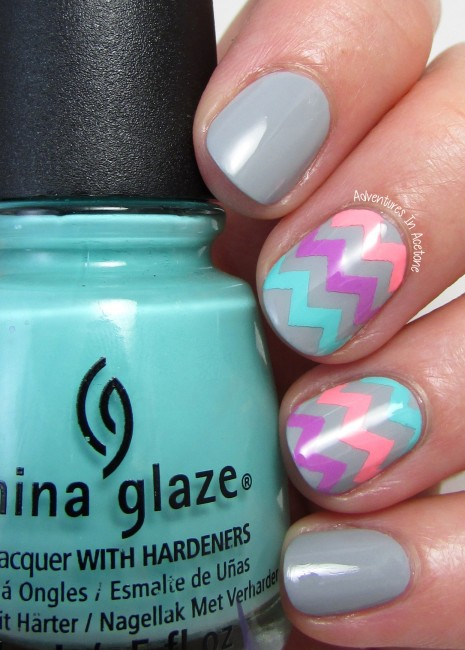 Neon Chevron nail art 2