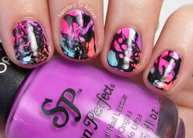 Neon Water Spotted nail art 1