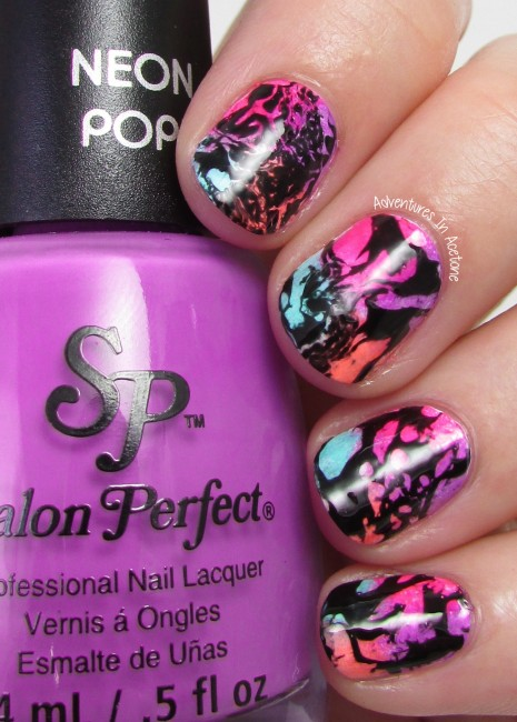 Neon Water Spotted nail art 2