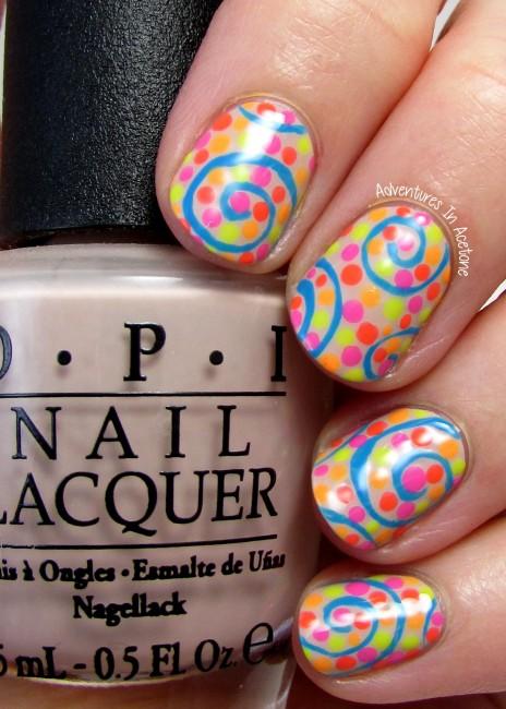 Neon swirl nail art 1