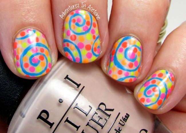 Neon swirl nail art 2
