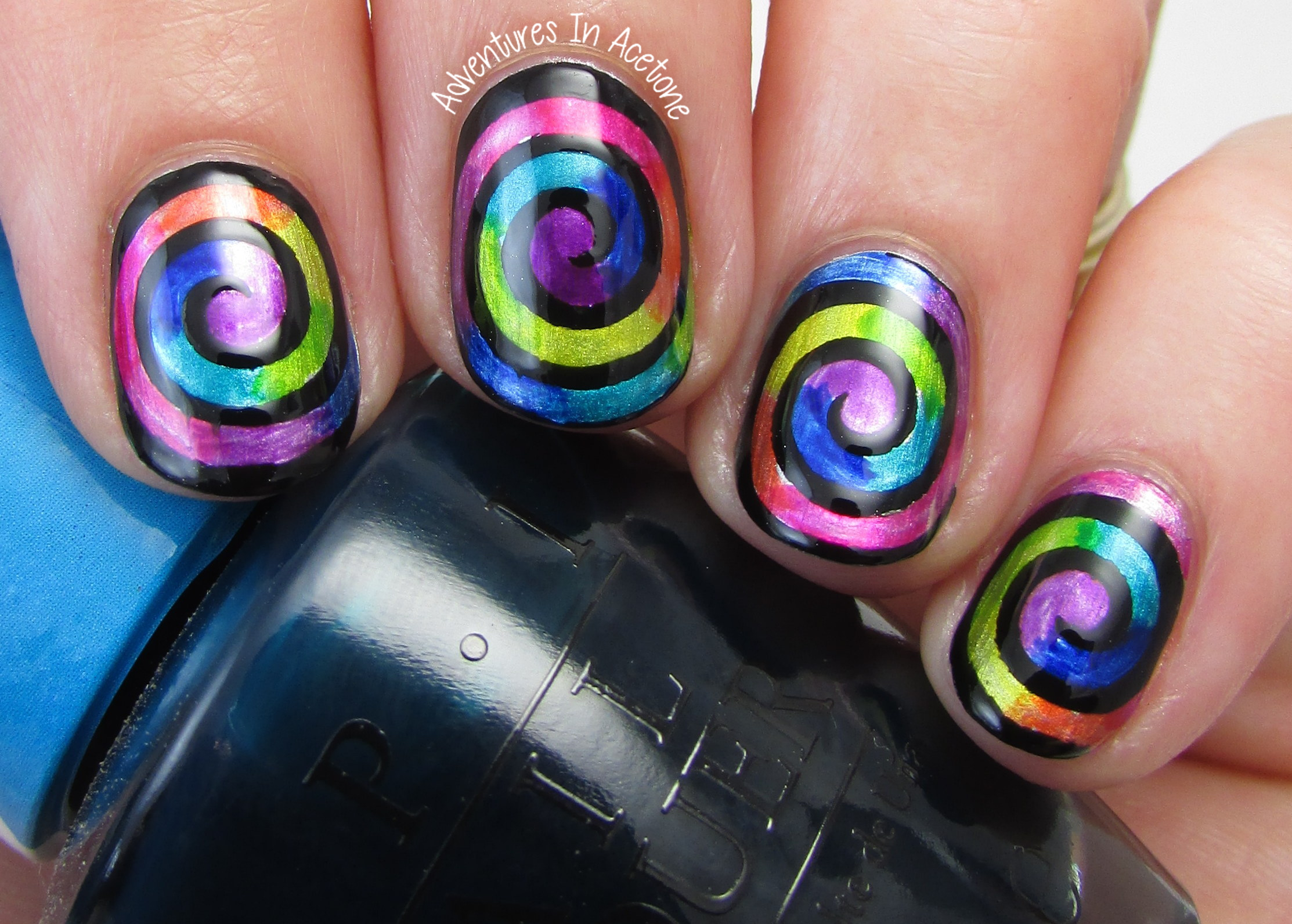 Groovy Swirls with OPI Color Paints! - Adventures In Acetone