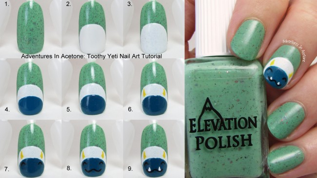 Toothy Yeti Nail Art Tutorial Collage