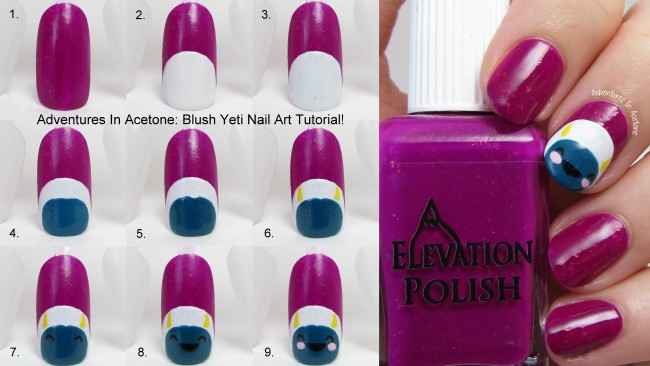 Blush Yeti Nail Art Tutorial Collage