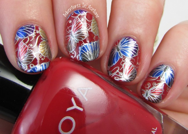 Double Stamp Butterfly Decals with Zoya Flair Collection 1