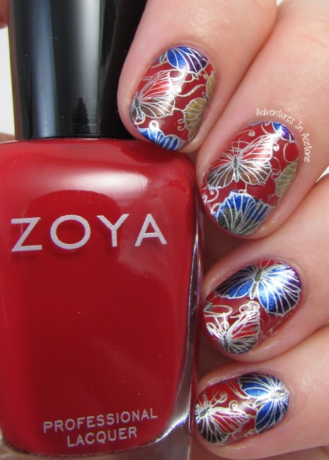 Double Stamp Butterfly Decals with Zoya Flair Collection 2
