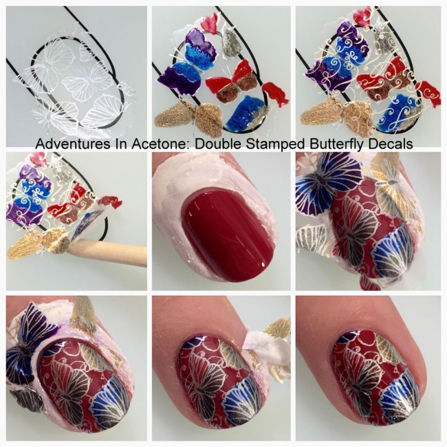 Double Stamp Butterfly Decals with Zoya Flair Collection collage