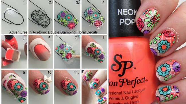 Double Stamping Floral Decals Collage
