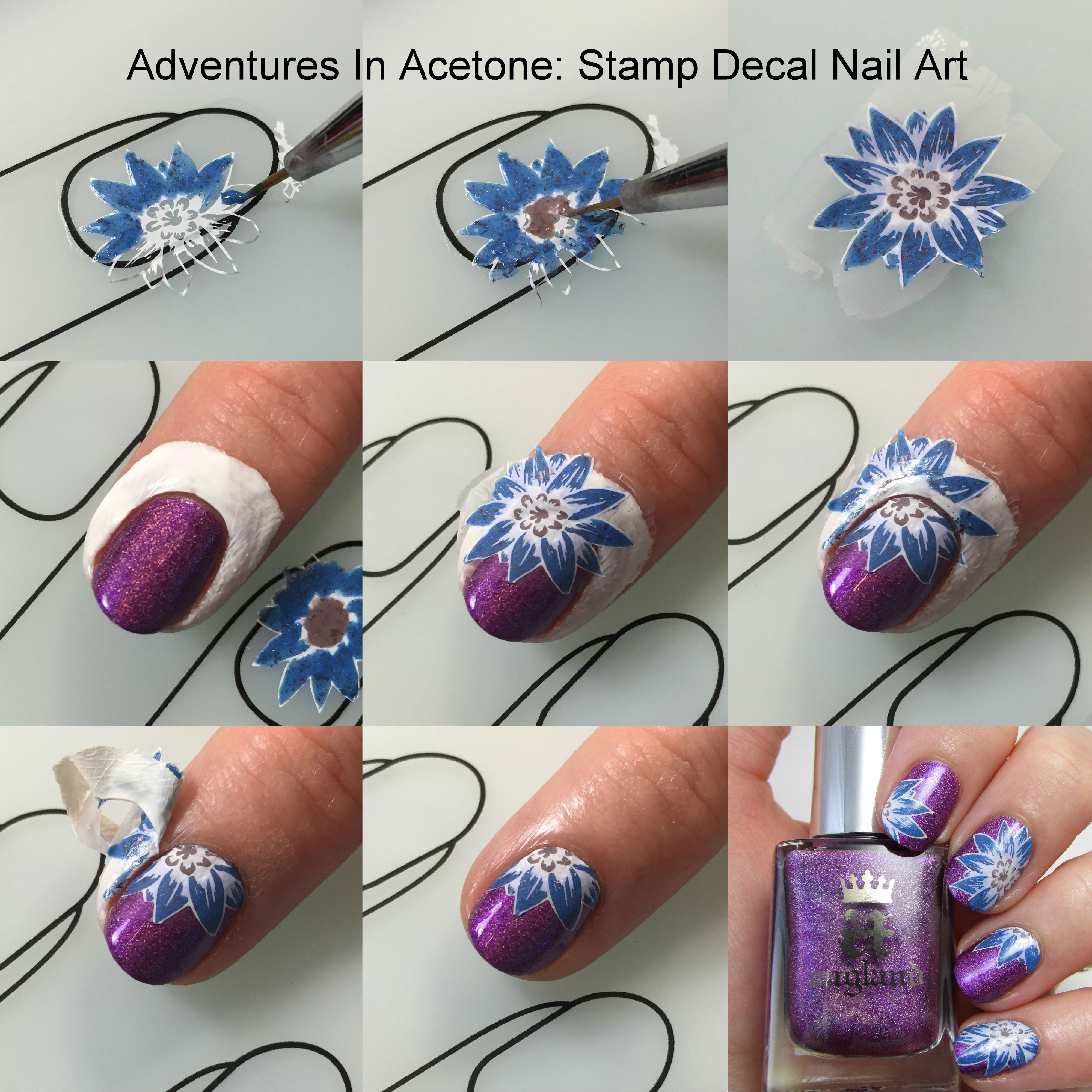 Stamping Decal Fl Nail Art Collage2