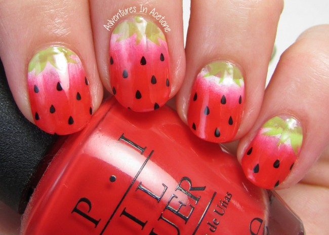 Strawberry Stamp Decal Nail Art 1