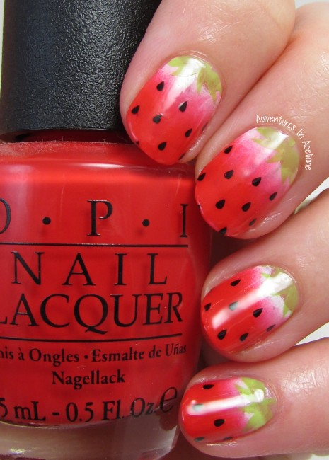 Strawberry Stamp Decal Nail Art 2