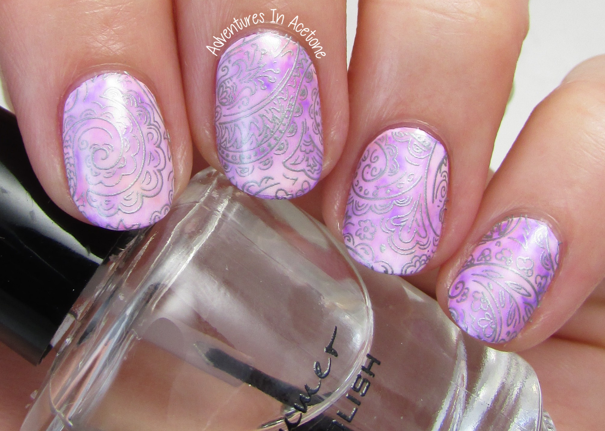 KBShimmer Gray Paisley Water Slide Decals + Sharpie Nail Art ...