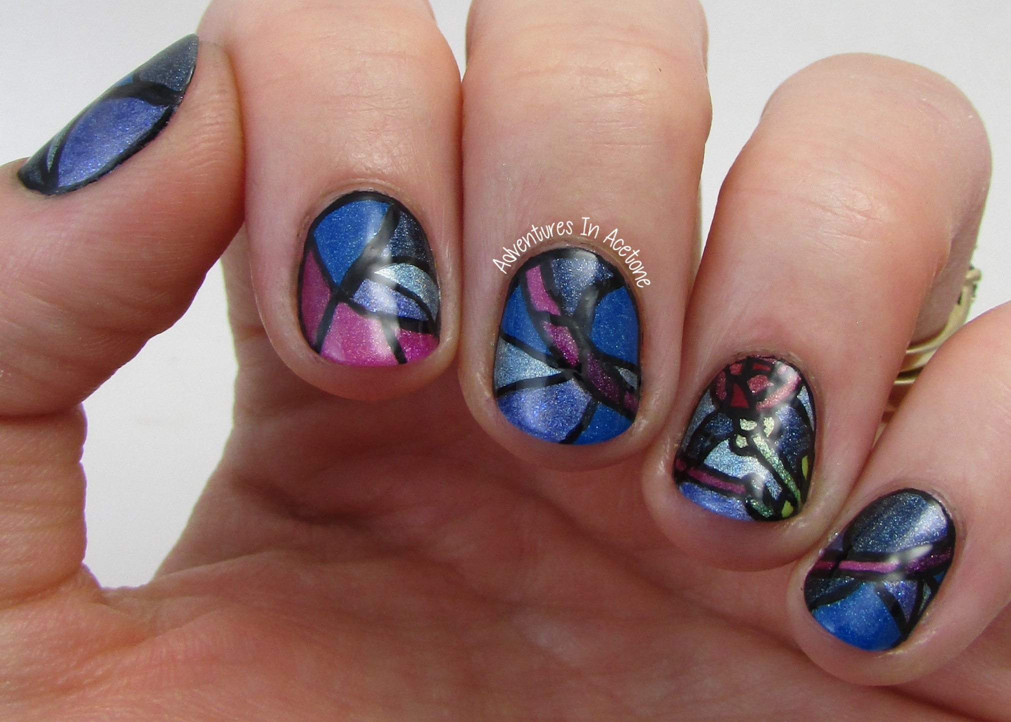 The Digit-al Dozen DOES Re-creation, Day 4: Stained Glass Nail Art ...