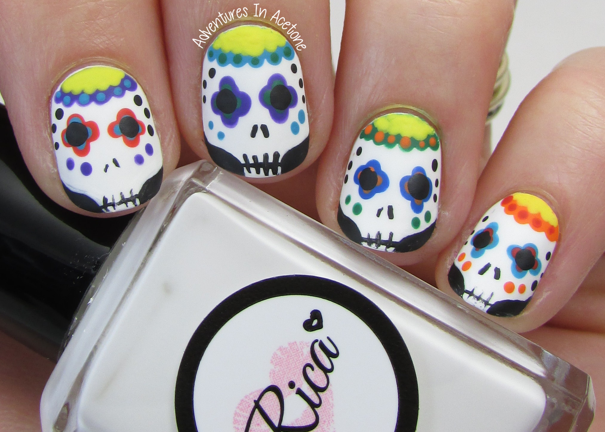 Sugar Skull Nail Art Images - easy nail designs for beginners step ...