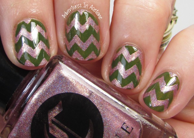 Cirque Colors Modern Muse and El Capitan Chevron nail art 2