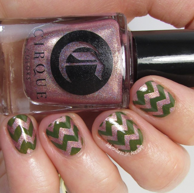 Cirque Colors Modern Muse and El Capitan Chevron nail art 3
